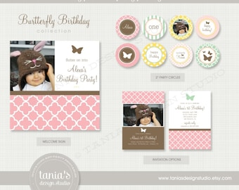 Butterfly Birthday Printable Birthday Party Package by tania's design studio