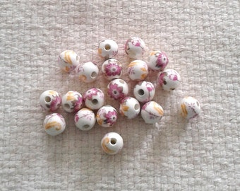 Porcelain Purple Flower Beads - 10 mm - Sets of 20