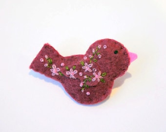 Handmade Felt Bird Brooch or Pin In Raspberry with Pink and Green Embroidered and Beaded Floral Embellishments - Scarf or Shawl Pin