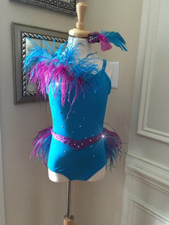 Items similar to ONE Piece Custom Dance Costume CUTE blue with Purple  Feathers JAZZ Musical Theater on Etsy