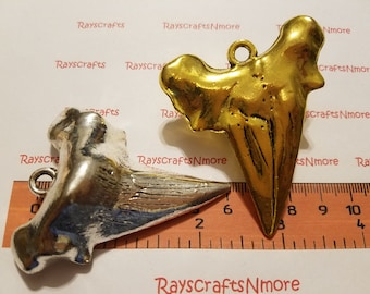 1 pc - Big Solid Shark Tooth Pendant - 67x53x19mm Antique Gold or Silver Lead Free Pewter. SLR0688