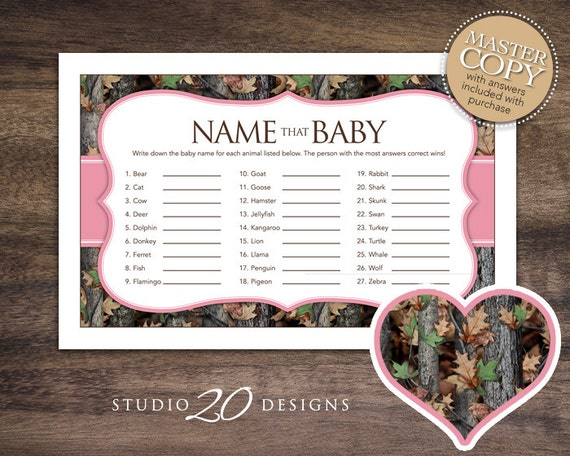 Instant Download Pink Camo Baby Shower Name That Baby Game