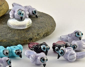 BIRDS  lampwork glass  charm sized beads -made to order beads - from Izzybeads SRA UK