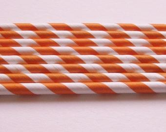 25 Paper Dark Orange and White Striped Straws - Free Printable Straw Flags