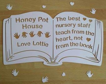 The best teachers teach from the heart not from the book papercut UNFRAMED, teacher gift, teaching assistant, nursery gift, teacher keepsake