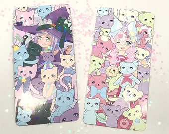 Original Art Holographic Bookmarks! Fairy kei bears & Witchy cats