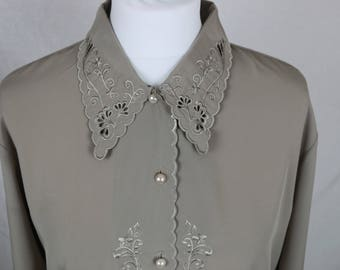 Grey Christine Gerard Blouse with pearl buttons