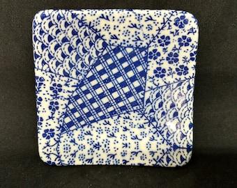 Ceramic Tea Bag Dish - Tea Bag Holder - Square Shape - Blue Geometric Design - Tiny Dish - Spoon Rest Dish - Ready to Ship