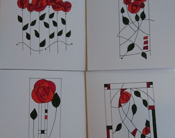 4 Handmade Notelets/blank cards (set of 4)