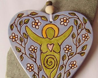 Ceramic Pottery Flower Goddess Heart Decoration, Hanging Decoration, Art Tile, Goddess Decor, Pagan Pottery, Spring Pottery Decor,Wall Art