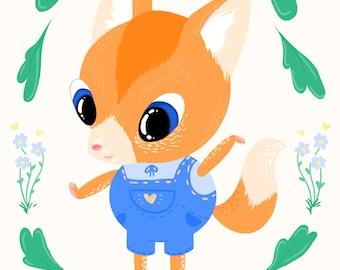 Cute Fox Illustration Digital Print (A5)