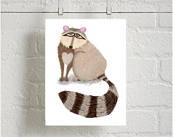 A Cute Little Raccoon Print downloadable instant Art