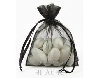 10 Black  Organza Bags, 6 x 9 Inch Sheer Fabric Favor Bags