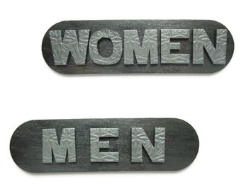Bathroom Signs for Office and Restaurant Restroom,  Silver Toilet Sign, Male Female Restroom Signs for Industrial Decor