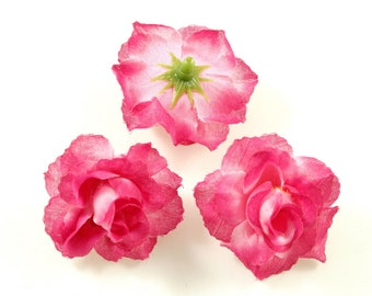 Set of 10 artificial flowers without stem diameter. 40mm - fuchsia