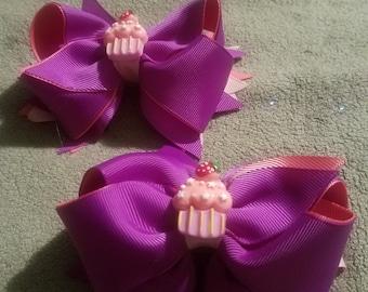 Cupcake hairbows!