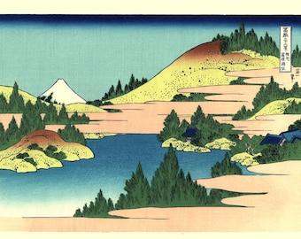 "Japanese Ukiyo-e Woodblock print, Katsushika Hokusai, ""The lake of Hakone in Sagami Province, Thirty-six Views of Mount Fuji"""