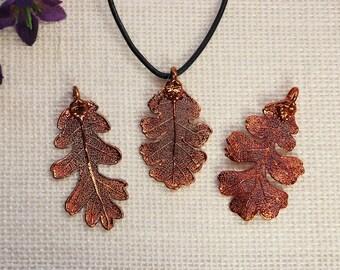 SALE Leaf Necklace, Copper Oak Leaf, Real Lacey Oak Leaf Necklace, Oak, Copper Leaf Pendant, SALE381