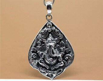 Sterling Silver Ganesha Pendant, Sterling Silver Shiva Pendant, 925 Silver Elephant Pendant, 15.5 Grams - LA714
