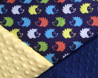 Personalized Minky Baby Blanket, Navy Multicolored Hedgehog Minky Baby Blanket