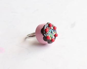 Miniature Cake Ring, Birthday Cake Ring, Miniature Food Jewelry