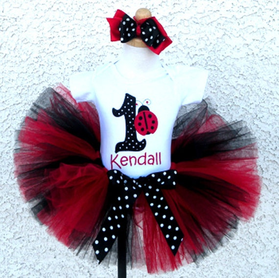 Black And Red Ladybug Birthday Number Tutu Personalized