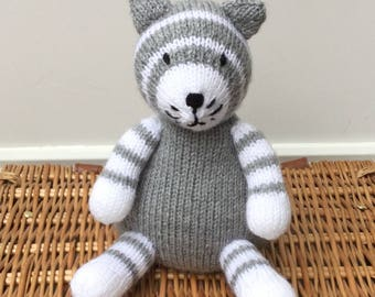 Hand knitted Cat-Plush Stuffed Toy-Handmade Toy- Soft Knitted Novelty Toy- Nursery Gift - Keepsake - Celia the Cat - CUSTOM MADE