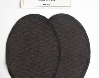 Elbow Patches - Brown and Black Herringbone - Set of 2