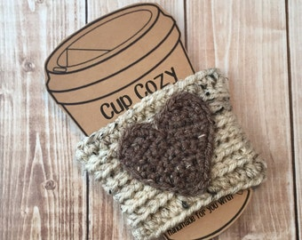 Valentine's Day Coffee Cup Cozy/Coffee Cup Cozies/Heart Coffee Cup Cozy/Crochet Coffee Cup Cozy in Oatmeal and Barley- MADE TO ORDER