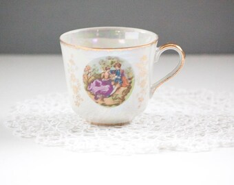 Vintage Tea Cup,  Pearlized White with Gold Accents