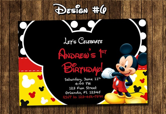 Mickey mouse first birthday party invitations eczalinf mickey mouse first birthday party invitations mickey mouse baby first birthday party photo invitations filmwisefo