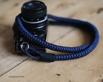 dark blue 12mm Hand knit Chinese knot handmade Camera neck strap