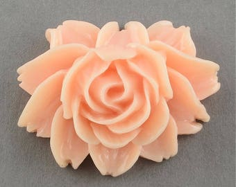 Flower Cabochons Lotus Flower Flatback Flat Back Flower Resin Flower Cabochon Pink Lotus Flower Large Flower Flatback Lotus Cabochons 2pcs