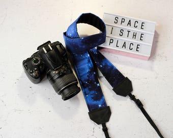 Galaxy camera strap | Padded reflex camera strap, SLR DSLR | Space stars camera strap | Vegan camera strap | Stardust strap | Milky way