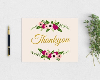 """Rustic """"Thankyou"""" Card - Printable PDF Instant Download"""