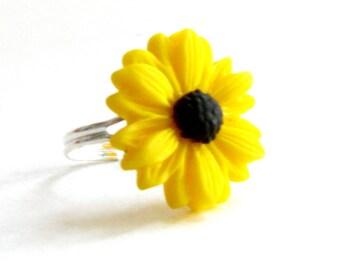 Sunflower Ring - Adjustable Band Size 6 - 9