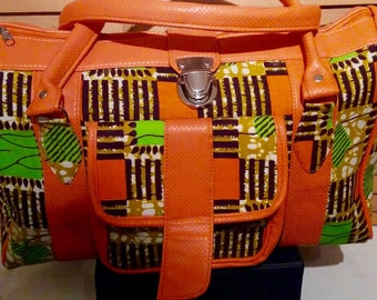 Orange and Green African print bag