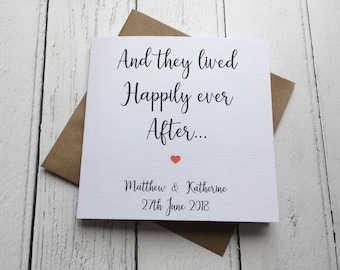 Beautiful simple Personalised Wedding card ~ And they lived Happily ever after ~ congratulations~ newlyweds ~ mr & mrs ~ wedding day card