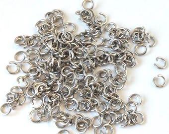 Set of 20 Metal Stainless Steel 316 l (7mm) - split rings silver - AASST716AG074