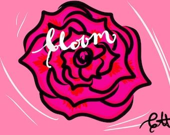 Bloom calligraphy art