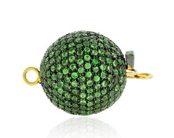 Ball Clasp Connector Finding Gold Jewelry, 925 Sterling Silver Tsavorite Gemstone  Studded Pave Designer Clasp Bead Jewelry Component