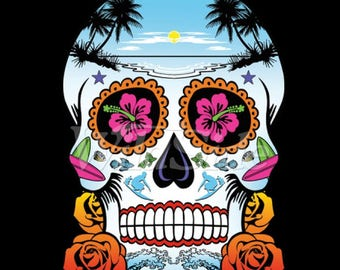 Hawaiian Tropical Sugar Skull Roses In Eyes Day of the Dead WOMENS T Shirt 19210