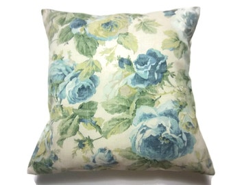Decorative Pillow Cover Floral Shades of Blue and Green Taupe Cream Same Fabric Front/Back Toss Throw Accent 18x18 inch x