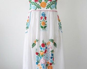 Embroidered Mexican Sundress Cotton Strapless Dress In White, Wedding Dress,  Boho Dress