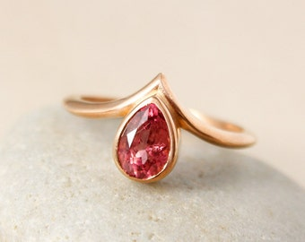 Teardrop Pink Tourmaline Point Ring, Pointed Ring, Tourmaline Rings, Stacking Ring