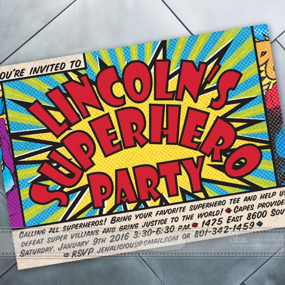 birthday party invitations, superhero birthday party, superhero party, birthday party ideas, birthday party printed invitations, IN448