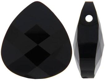 Small Swarovski 6012 Flat briolette in black - 11x10mm - Swarovski pendants - jet black