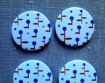 Button magnets round motif mimosa