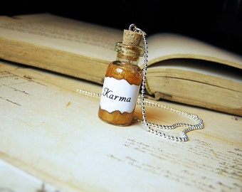 Karma Glass Bottle Necklace Charm - Good Luck Energy - Cork Vial Pendant