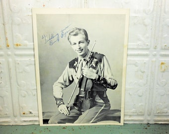 Vintage Autographed Photo of Fiddlin' Buck Ryan, Country Music Memoribilia, Jimmy Dean and the Texas Wildcats